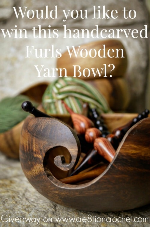 Would you like to win this handcarved Furls Wooden Yarn Bowl?  Giveaway on www.cre8tioncrochet.com.  Enter by June 11, 2015 at 11:59pm EST.