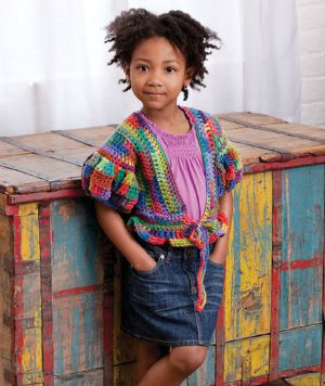 Little Girl's Puffy Sleeve Sweater by Double Stitch Twins for Red Heart