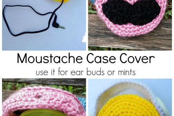 Mustache Ear Buds Case free crochet pattern
