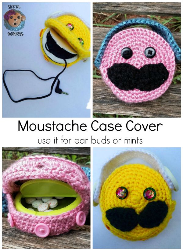 """Stash"" your earbuds with this adorable Moustache Case Cover. Perfect for earbuds or mints. Super cute. All you'll need is an empty Icebreakers Mints container and some yarn."