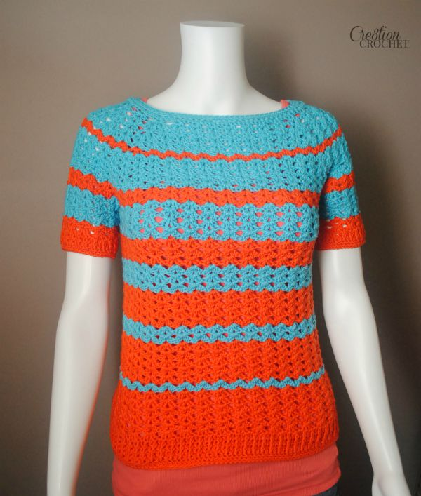 Ribbed Shell Tee Womens Crochet Top Pattern. Available in sizes small through XL. Includes schematic and charts.