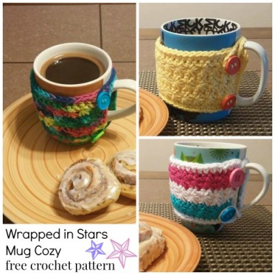 Wrapped in Stars Mug Cozy free crochet pattern designed by Same DiNamics Crochet