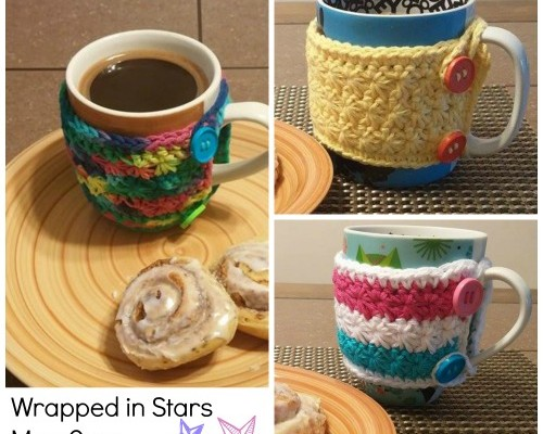 Wrapped in Stars Mug Cozy free crochet pattern