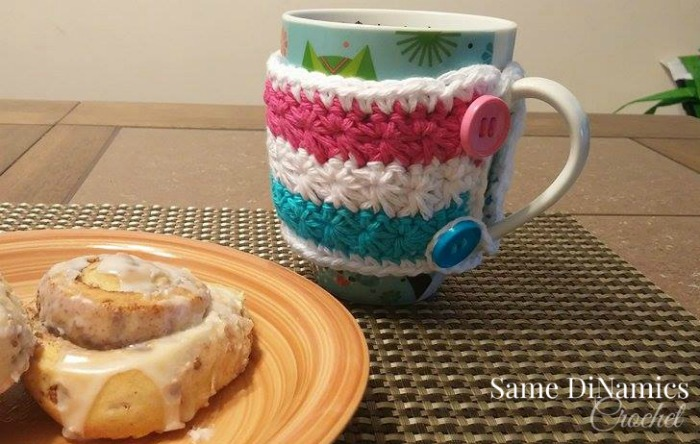 Wrapped in Stars Mug Cozy free crochet pattern.