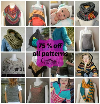 All Cre8tion Crochet patterns are now 75% (yes you read that right) off through July 31st, 2015!