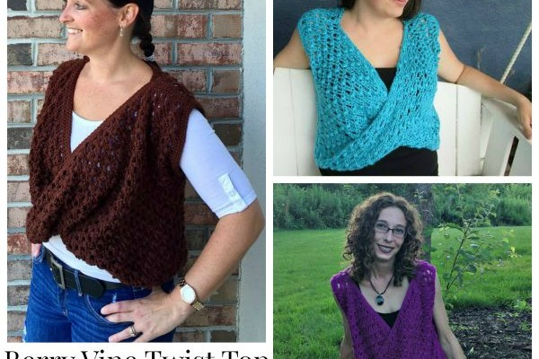 Berry Vine Twist Front Free Crochet Top