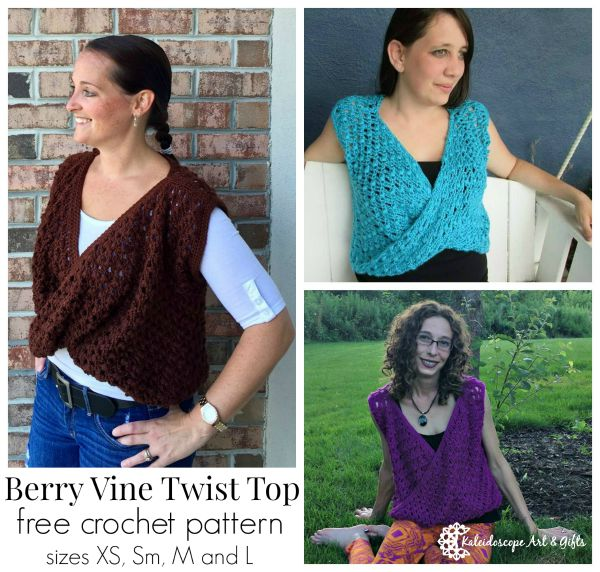 Berry Vine Twist Top. Free crochet pattern in sizes XS thru L.
