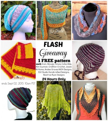 Flash Giveaway.  Join us on a blog hop to get one free pattern each from Moogly, Simply Collectible, Kim Guzman, Cre8tion Crochet, Jessie At Home, Andee Graves/M2H Designs, ELK Studio Handcrafted Designs and Beatrice Ryan Designs.  24 hours only.