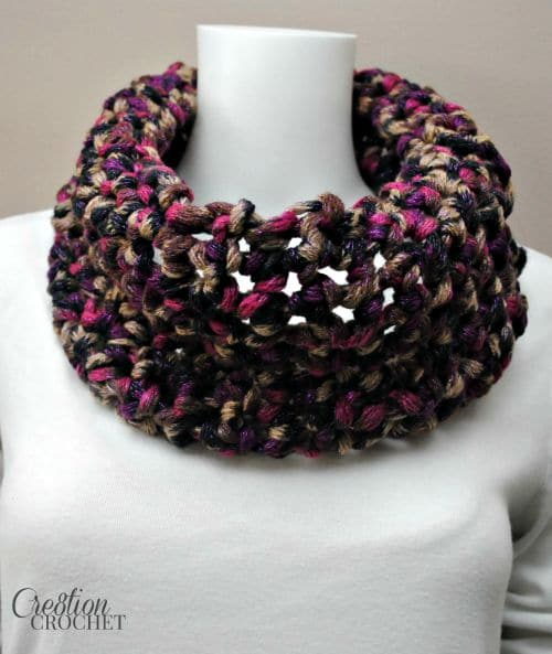 Free Crochet Cowl Pattern by Cre8tion Crochet. The Romantic Twilight Cowl is made using simple sc stitches.