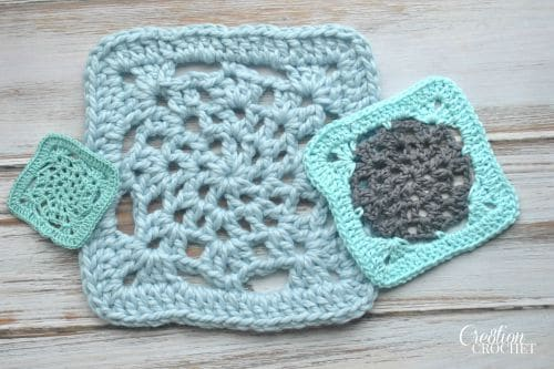 Free Crochet Lace Square Pattern in fingering, worsted and bulky weight yarns.