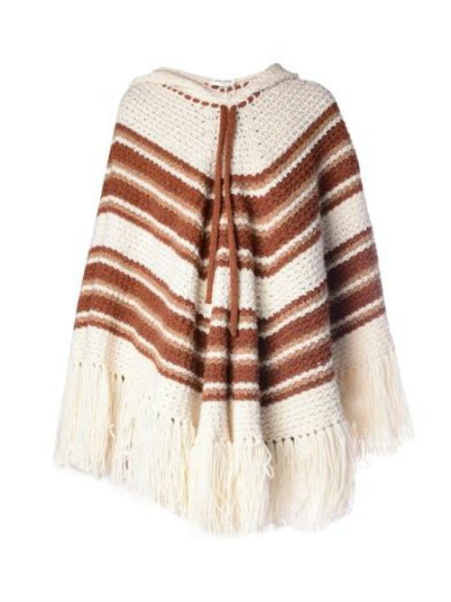 Saint Laurant Striped Crochet Hooded Poncho