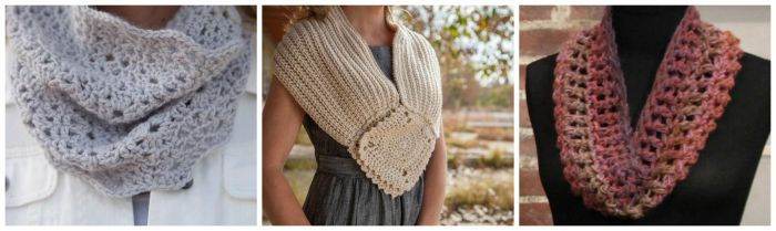 Three Quick and Easy Crochet Cowls.  Learn these three cowl patterns on the Quick and Easy Crochet Cowls Class on Craftsy.