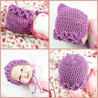 It Won't Bite Crocodile Stitch Baby Bonnet
