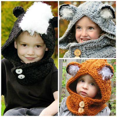 Woodland Friends Hooded Cowl