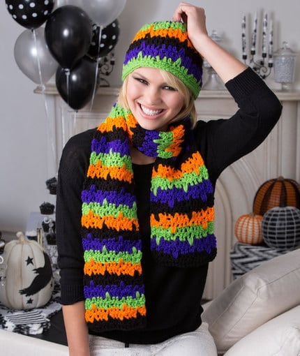 JIttery Stripes Hat and Scarf pattern. Free pattern designed by Lorene Eppolite for Red Heart Yarns.