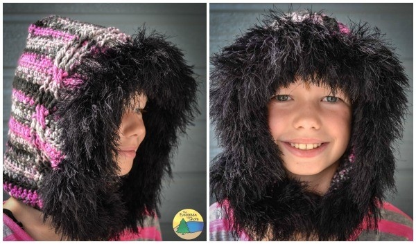 Cable Fur Trimmed Hood free pattern from The Evergreen Shore