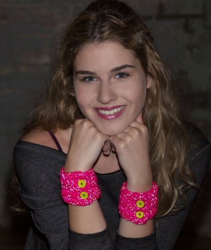 buttoned up cuffs free pattern by Lorene Eppolite for Red Heart Yarns
