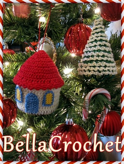 Country Cottage and Tree Ornament