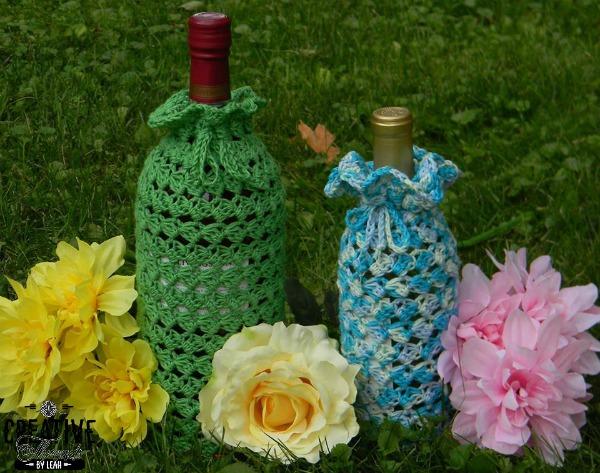 Swirling Leaves Wine Cozygift Bag Free Crochet Pattern Cre8tion