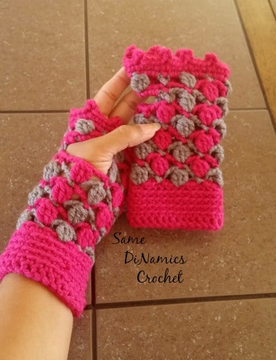Floating Petals Fingerless Gloves 1
