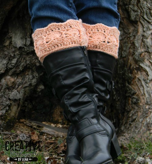 free crochet pattern for Icy Trellis Boot Cuffs