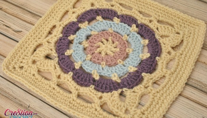Cathedral Window free 12″ square crochet pattern