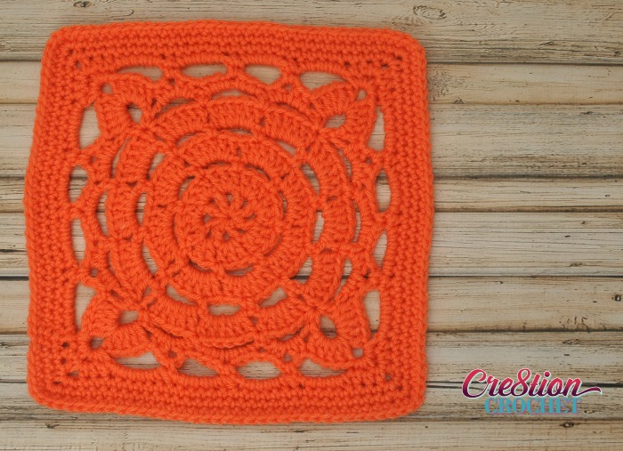 Cathedral Window 12 inch free crochet square solid color