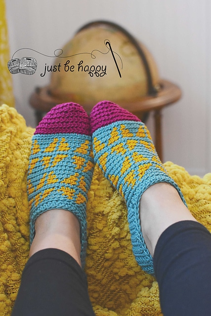fair isle slippers by just be happy crochet