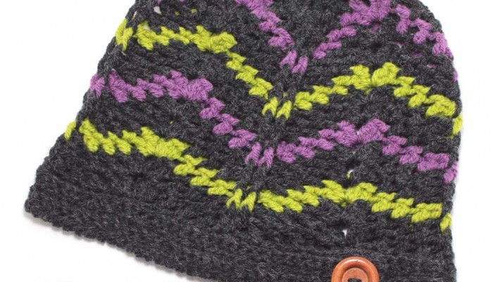 Subtle Chevron Buttoned Beanie and Slouch free crochet pattern