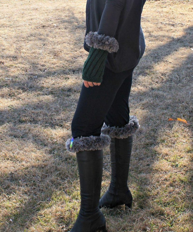 Fingerless Gloves & Boot Cuff free crochet pattern