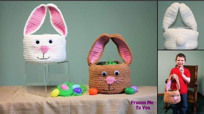 Treatsie the Bunny Basket – free Easter basket crochet pattern