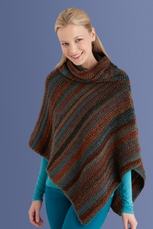 Cowl Neck Poncho by Lion Brand Yarn