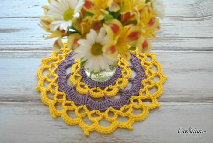 This fun mandala combines two colors and simple stitches for a fun look with a web and picot border.