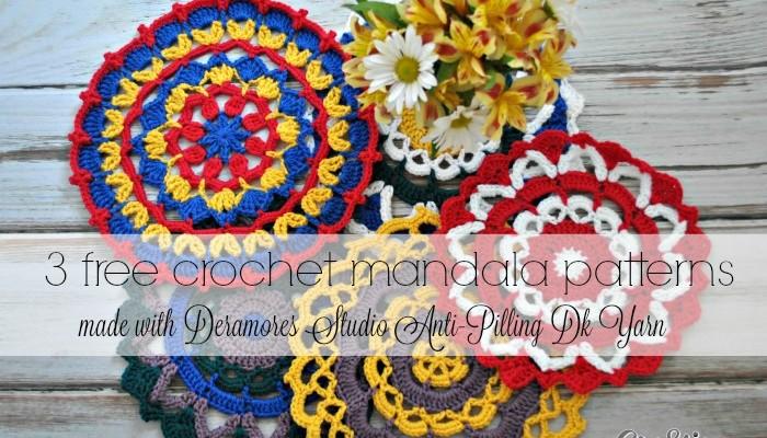 Three Free Mandala Patterns made with Deramores Studio Anti-Pilling Dk Yarn