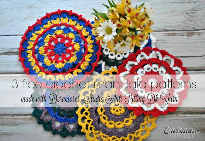 Three free crochet mandala patterns designed with Deramores Style Anti Pilling Dk Yarn