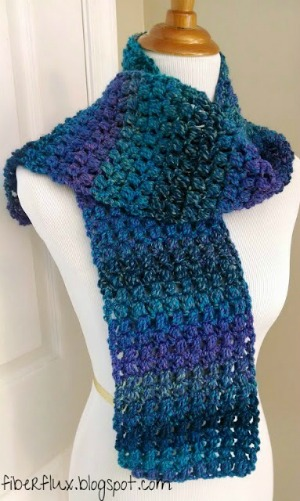Tweedy Puff Stitch Scarf by Fiber Flux