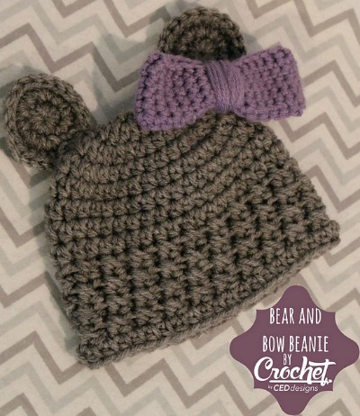 Bear and Bow Crochet Beanie