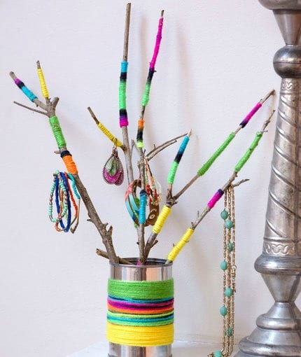Wrapped Twig Jewelry Holder