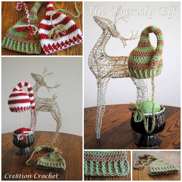 The Trendy Elf Hat by Cre8tion Crochet.  Christmas in July with The Red Heart Joy Creators.