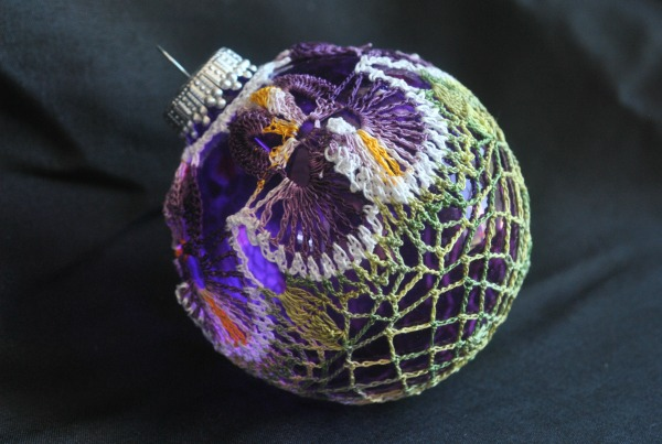 First Place in Thread in the CGOA 2016 Design Competiton is Ring Around the Pansy, designed by Joanne Jillard.