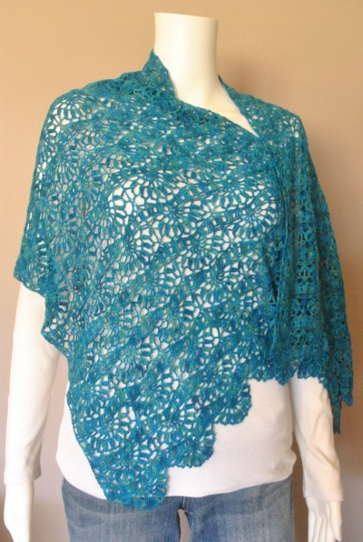 Second Place in Thread in the CGOA 2016 Design Competiton is the Pretty as a Peacock Shawl, designed by Theresa Kehrer.