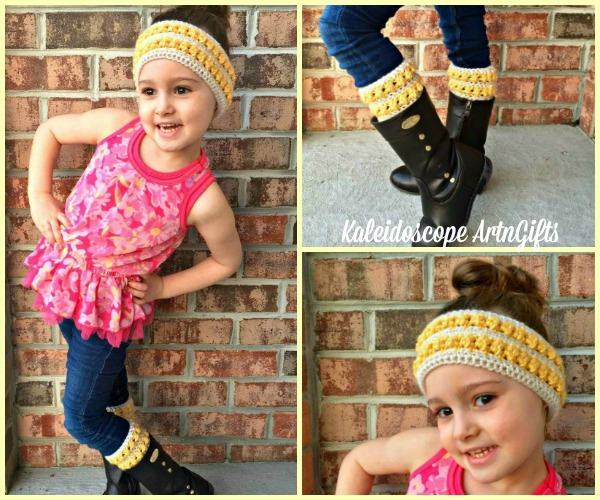 This adorable Persephone Ear Warmer and Boot Cuffs set will keep you warm and stylish as you start your Fall wardrobe.