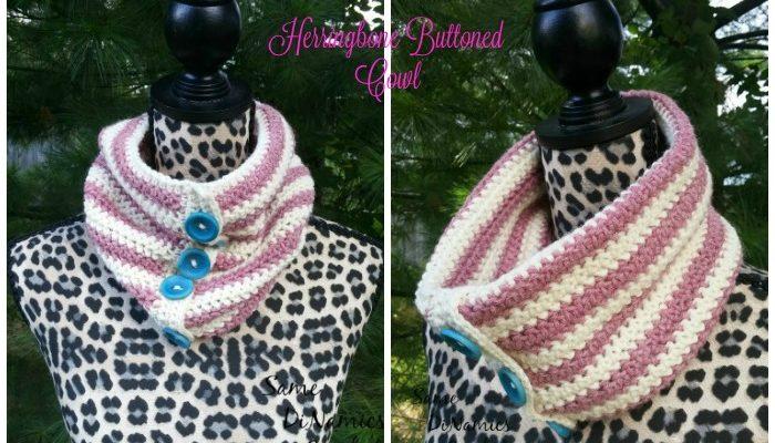 Herringbone Buttoned Cowl Free Crochet Pattern