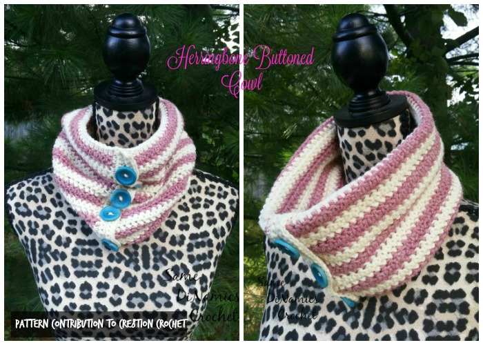 This Herringbone Buttoned Cowl is perfect for colder weather with buttons that can be used to style however you wish.