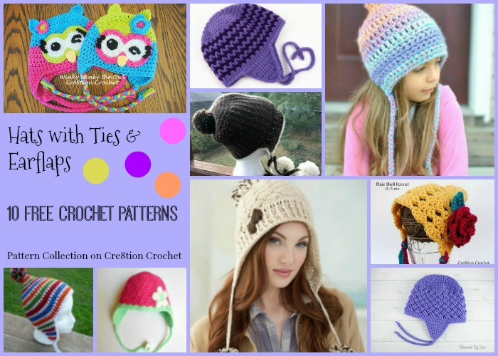 Hats with Ties & Earflaps Pattern Compilation - Cre8tion Crochet