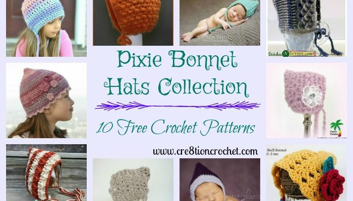 Pixie Bonnet Hats Pattern Collection