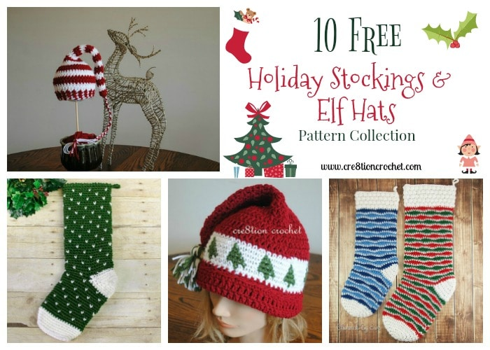 Holiday Stockings And Elf Hat Pattern Collection Cre8tion Crochet