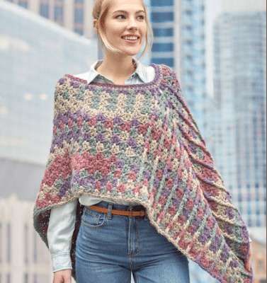 Mountain Breeze Poncho with Red Heart Yarns