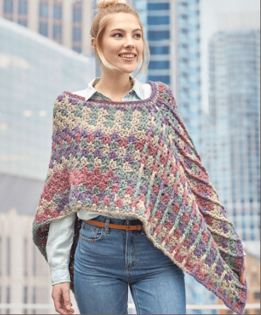 505efa8e327d2 Mountain Breeze Poncho with Red Heart Yarns - Cre8tion Crochet