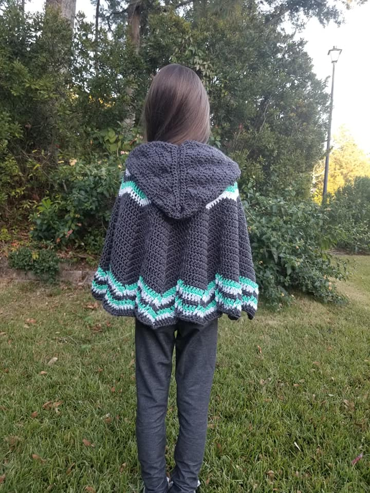 Big Mountain Poncho - free crochet poncho pattern for children